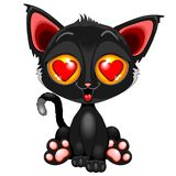 Cute Kitty in Love on Valentine`s Day Royalty Free Stock Photo