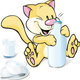 Cute kitty with milk  on white Royalty Free Stock Image