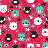 Cute kitty pattern. Royalty Free Stock Image