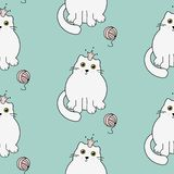 Cute kitty princess seamless vector pattern. White cats on green mint background. royalty free illustration