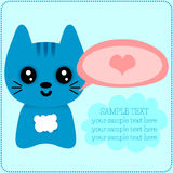 Cute kitty romantic card Royalty Free Stock Image