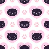 Cute kitty seamless pattern, cats and hearts. Texture for wallpapers, fabric, wrap, web page backgrounds, vector illustration. Design royalty free illustration
