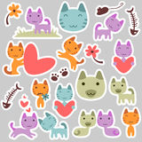 Cute kitty stickers. Set of cute kitty stickers Stock Photos
