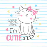 Cute kitty. T-shirt graphic for kid`s clothing royalty free illustration