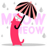 Cute kitty with umbrella. Under the rain royalty free illustration