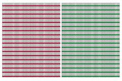 Cute Knitted Fabric Style Vector Patterns. Red, Green and Light Gray Stripes. Red, Green and Off-White Simple Design. Red and Green Stripes on a Bright stock illustration