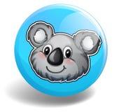 Cute koala bear head on badge Stock Photography