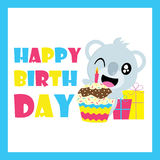 Cute koala with birthday cupcake and gifts vector cartoon, Birthday postcard, wallpaper, and greeting card. T-shirt design for kids stock illustration