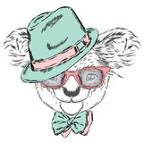 Cute koala in a cap and a tie. Koala vector. Greeting card with bear. Australia. Winter. Skier. Koala wearing glasses. Stock Photography