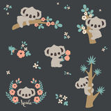 Cute koala in different poses. Climbing on a tree, laying on a branch, holding flowers, etc. Vector cartoon illustration Royalty Free Stock Photography
