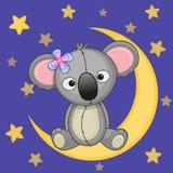 Cute Koala on the moon Royalty Free Stock Photo
