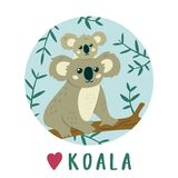 Cute Koala mother with baby Koala . Creative kids print. Vector illustration Vector Illustration