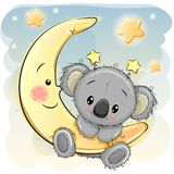 Cute Koala On The Moon Stock Photography