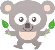 Cute koala smiling and holding eucalyptus leaves Stock Photography
