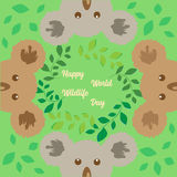Cute koalas appearing around greeting on a green floral background. Vector illustration. Cute koalas holding message board on abstract green floral background Royalty Free Stock Photos