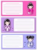 Cute Kokeshi notes Stock Image