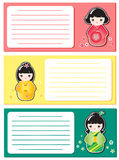 Cute Kokeshi notes Stock Photography