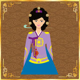 Cute korean girls in national dress. vector design stock photography