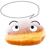 Cute Krapfen with speech bubble Royalty Free Stock Image