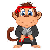 Cute Kung fu Monkey Cartoon. Colourfull Royalty Free Stock Image
