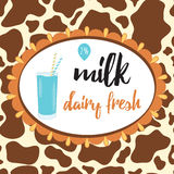 Cute label with glass of milk. Cow skin background. Royalty Free Stock Image