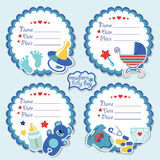 Cute label kit with items for newborn baby boy Royalty Free Stock Photos