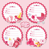 Cute label kit with items for newborn baby girl Royalty Free Stock Image