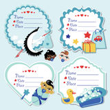 Cute label set with items for newborn baby boy Royalty Free Stock Photography