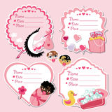Cute label set with items for newborn baby girl. Set of cute cartoon Label with items for newborn baby girl. Use for invitation,save the date card.Vector Stock Photography