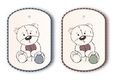 Cute label tags with teddy bear sketch Stock Photography