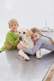 Cute labrador with its cheerful owners Royalty Free Stock Photo