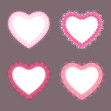 4 cute lace border heart labels Stock Images