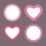 4 cute lace border heart and round labels Stock Images