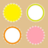4 cute lace border round labels Stock Photo