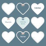 Cute lacy doilies in the shape of heart set. Can be used for scrapbook, valentines, baby shower design Royalty Free Stock Photography