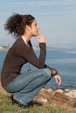 Cute lady in casual clothes on sea side Royalty Free Stock Photos