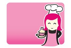 Cute lady chef cartoon. Bakery in pink Stock Photography