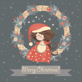 Cute lady christmas in wreath. Vector christmas card Royalty Free Illustration