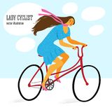 Cute lady cyclist. On a city bicycle. Editable vector illustration Royalty Free Stock Photography