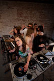 Cute lady DJ Royalty Free Stock Photography