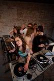 Cute lady DJ Royalty Free Stock Photography