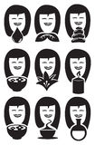 Cute Lady Faces with Spa Symbols Vector Icon Set Stock Image
