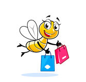 Cute lady fly shopper. Happy fly or bee cartoon character with shopping bags Royalty Free Stock Image