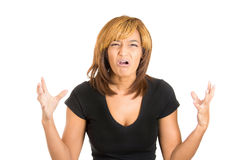 Cute lady looking annoyed, shocked and surprised with hands up in the air Royalty Free Stock Photography