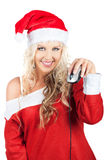 Cute Lady Santa Claus With Computer Mouse Royalty Free Stock Photo