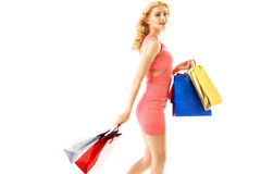 Cute lady during the shopping Stock Images