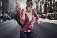 Cute lady speaks by phone Royalty Free Stock Images