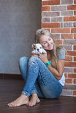 Cute lady woman with puppy Stock Images