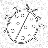 Cute ladybird coloring book page. Outlined illustration of a ladybug. Vector. Royalty Free Stock Photos