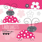 Cute ladybirds vector illustration Royalty Free Stock Photography